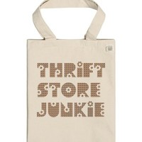 Thrift Store Junkie (Tote Bag) Plaid-Unisex Natural T-Shirt