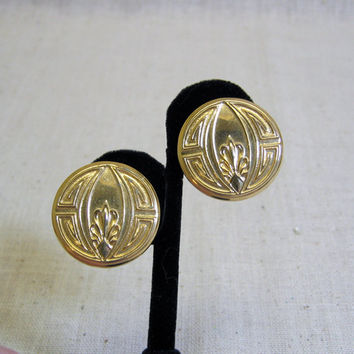 1980s Golden Art Deco Button Style Design  Clip On Earrings