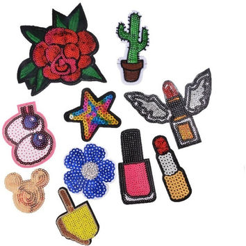 Hoomall 10PCs Mixed Patches Handmade Iron On Sequin Embroidered