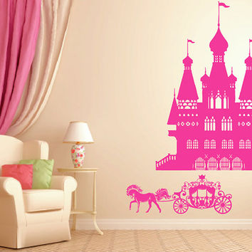 kik941 Wall Decal Sticker Castle Princess Cinderella carriage horses children's room