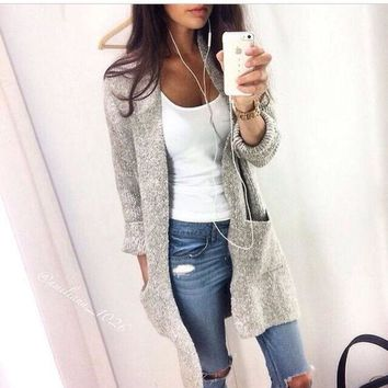 PEAPIH3 LOOSE LONG-SLEEVED KNIT CARDIGAN SWEATER JACKET