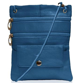 Genuine Leather Multi-Pocket Crossbody Purse Bag - Navy Blue