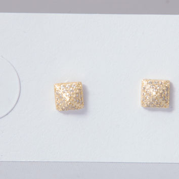 Gold Pave Pyramid Stud Earrings