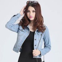 Womens jackets coats 2018 New fashion jeans Jackets Denim Women slim cotton solid Jacket for women Outerwear Coats ladies jacket