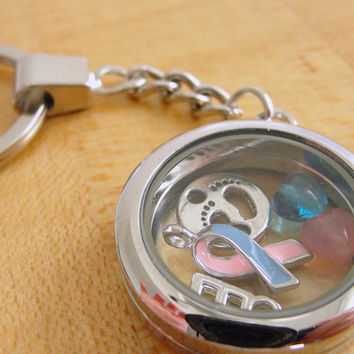 Pink and Blue Awareness Floating Locket Key Chain - SIDS, Birth Defects, CDH, FAS, Infant Loss, Cleft Palate
