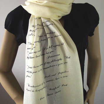 JANE AUSTEN Quotes Scarf Pashmina Handprinted Scarf - Ivory - Silk Scarf with Fringes Literary Text Scarf Book Lovers Scarf