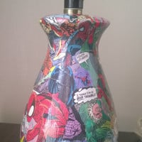 Spider-Man comic book decoupage lamp