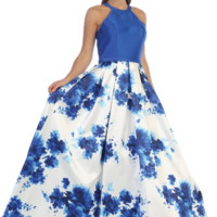 Watercolor Floral Print Dress with Halter Top- Royal Blue/Print