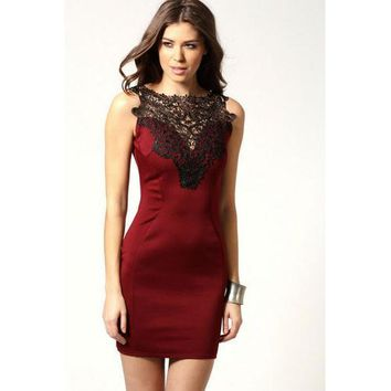 Charming sexy lady lace club dress