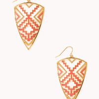 FOREVER 21 Clear Cut Western Earrings Coral/Gold One