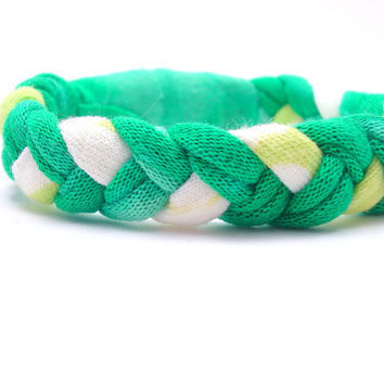 Woven Bracelet Recycled TShirt Bracelet Bleached Green Bracelet Upcycled Jewelry