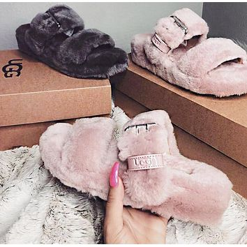 UGG Fashion Women Men Fur Flats Sandals Slipper Shoes Pink