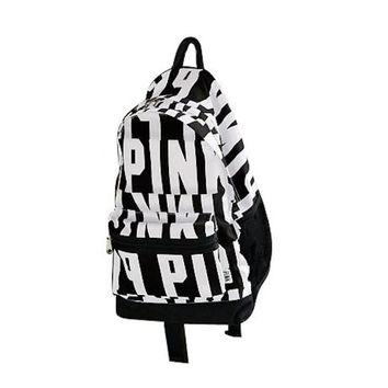 Victoria's Secret Pink Backpack School Bag Black and White