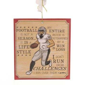 Holiday Ornaments FOOTBALL KEEPSAKE ORNAMENT Wood Win Loss Challenges 130522