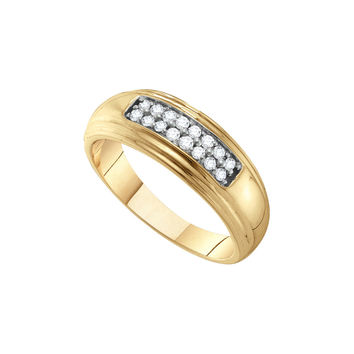 10kt Yellow Gold Mens Round Diamond Double Row Wedding Band Ring 1/4 Cttw 55754