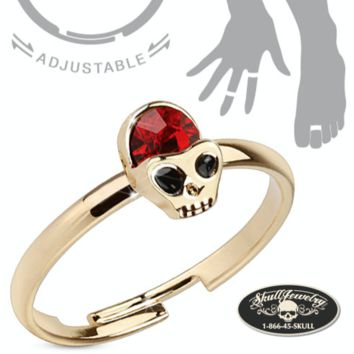'Red Alien Skull' Adjustable Brass Mid-Ring/Toe Ring (adj005)