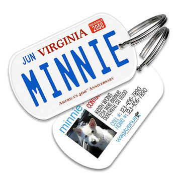 Virginia License Plate Pet Tag - Personalized Pet ID Tags, Custom Dog Tags, Cat ID Tag, Dog Name Tags, Dog Tags for Dogs, Collar Tag