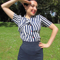 1940's vintage inspired nautical blouse by KathyAndTheHappiness