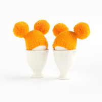 SALE before Easter 10% OFF Sunny yellow egg warmers with funny poms