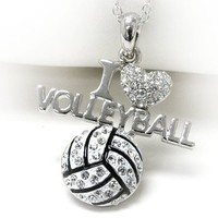 Silvertone Crystal I Love Volleyball Pendant Necklace Fashion Jewelry:Amazon:Jewelry