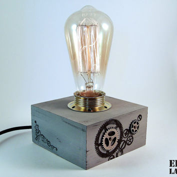 Steampunk lamp Steampunk lighting Steampunk light Steampunk desk lamp Steampunk decorations Industrial lamp Gear lamp Gray lamp Edison