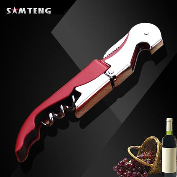 Professional Stainless Steel Wine Opener Screw Corkscrew Double Hinge Waiters Wine Bottle Opener Hippocampus Can Beer Opener