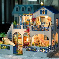 Miniature Dollhouse  DIY Kit Shooting Star Garden with Voice Control Light and Music Box Cute Room House Model 1/24 Beach House Blue White