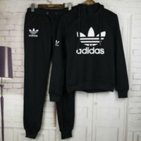 Hot Black Adidas Logo Print Sports Wear Pullover + Pants