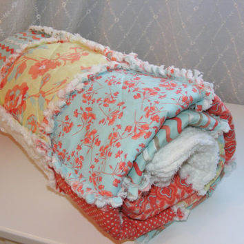 Throw, Lap Rag Quilt, Child's Quilt, Kensington-Riley Blake, Shabby Chic, Handmade, Coral, Pale Aqua, White Chenille 48 X 54, Ready To Ship