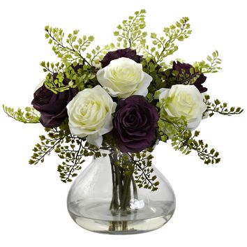 Artificial Flowers -Rose And Maiden Hair Arrangement With Vase No3 Silk Plant