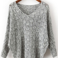 Grey V Neck Long Sleeve Hollow Sweater one size (Size: M, Color: Grey)