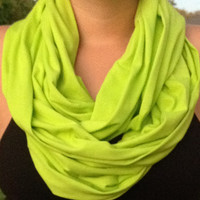 Bright Green Infinity scarf, Infinity scarf, loop scarf, jersey knit, bridesmaid monogrammed gift, jersey infinity scarf, sorority scarf