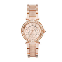 Michael Kors Mini Parker Rose Gold-Tone and Blush Acetate Watch 33mm