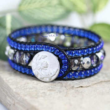 Sapphire Blue Beaded Leather Cuff, 3 Row, Silver, Leather Jewelry, Beaded Bracelet, Leather Wrap Bracelet, Sparkly, Cobalt Blue