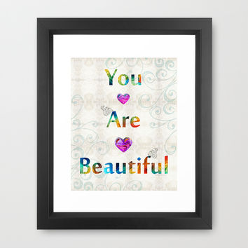 Uplifting Art - You Are Beautiful by Sharon Cummings Framed Art Print by Sharon Cummings | Society6