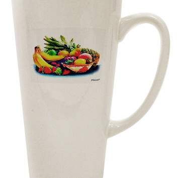 Watercolor Fruit Bowl 3 16 Ounce Conical Latte Coffee Mug