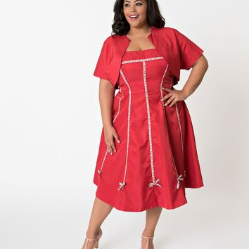 Unique Vintage Plus Size 1940s Style Red Strapless Ribbon Della Swing Dress & Bolero