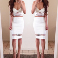 Cute white two piece hot dress