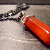 Red Fire Agate Double Terminated Crystal Wand Necklace