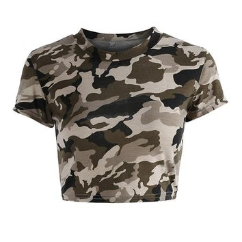 Sexy Hollow Out Camouflage Crop Top T-shirt - Ripped Back