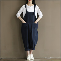 Womens Loose Jumpsuits Street Casual Overalls 2017 New Cotton Linen Plus Size 4XL Jumpsuit Clothes Rompers Women Wide Leg Pants
