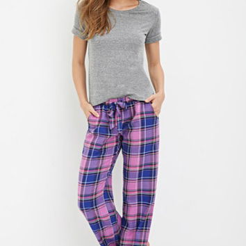 Drawstring Plaid PJ Pants