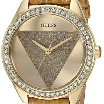 Guess Women's Stainless Steel Leather Band