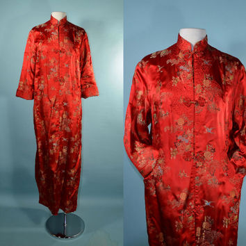 Vintage Asian Red Brocade Robe Duster/ Exotic Chinese Bohemian Boudoir Pin Up Loungewear/ Long Music Festival Red Floral Coat SZ 34 S