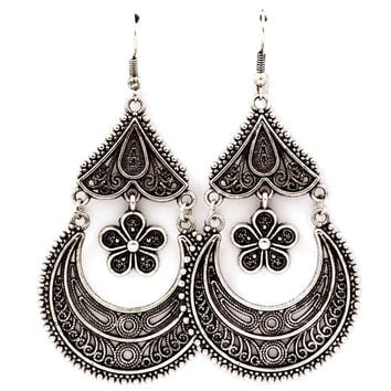 antiqued silver crescent and daisy chandelier earrings