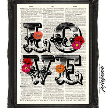 Romantic Love Anniverary Typography Print on Antique Unframed Upcycled Bookpage