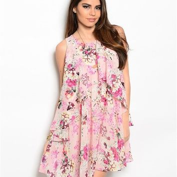 Ark & Co.: Soft Kisses Pink Floral Halter Dress