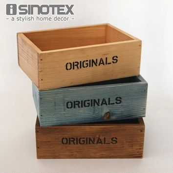 New Decorative Flower Vase Rectangle Box Wood Flowerpot Decorative Palm Bonsai Landscape Artificial fleshiness Cactus Plant