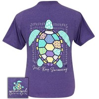 Girlie Girl Originals Preppy Just Keep Swimming Sea Turtle T-Shirt