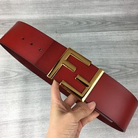 Fendi tide brand female retro double F letter buckle simple wild belt red